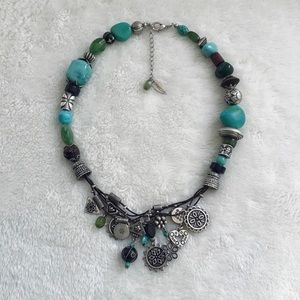 Coldwater Creek Layered Charm Bead Silver Necklace